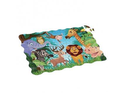 Puzzle zvířata v džungli 208 ks 90x64 cm