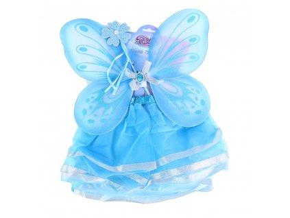 Dětský kostým tutu sukně modrá motýl s hůlkou a křídly