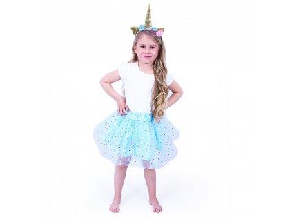 Dětský kostým tutu modrá sukně s čelenkou jednorožec