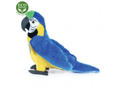 Plyšový papoušek modro žlutý Ara Ararauna 24 cm ECO-FRIENDLY