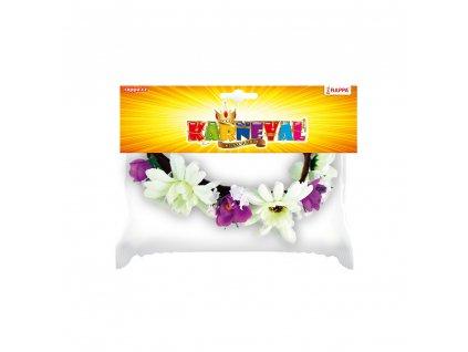 Čelenka květina fialovo-bílá 3 větší květy