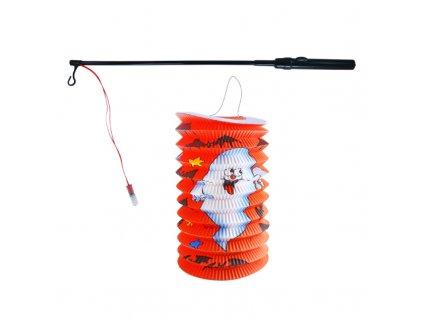 Lampion Halloween 15 cm se svítící hůlkou 39 cm