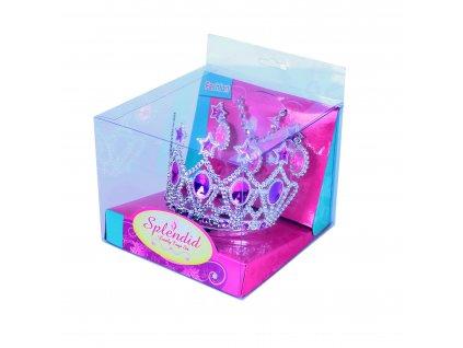 Korunka princezna s náušnicemi a náhrdelníkem růžová