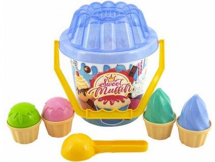Baby sada na písek kyblík s naběračkou a cupcake dortíky 11ks 2 barvy