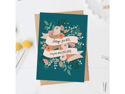 Přání s obálkou Stuha s květy - Děkuji za vše!
