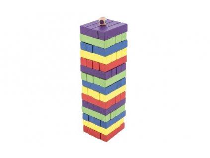 Hra věž dřevěná 60ks barevná