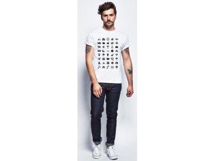 Cestovní tričko s ikonami - Barva: Bílá Velikost: