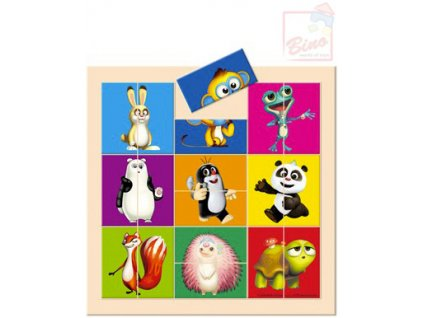 BINO DŘEVO Baby puzzle (Krteček) Krtek a Panda dělené hlavičky 18 dílků