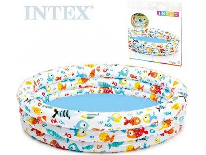 INTEX Bazén dětský nafukovací s rybičkami kulatý 132x28cm bílý 59431