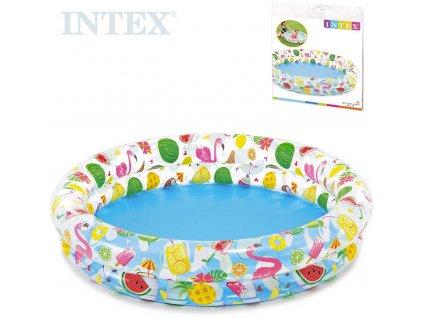 INTEX Bazén dětský nafukovací kulatý průhledný 122x25cm potisk léto 59421
