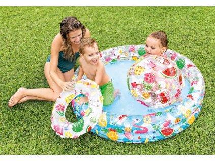 INTEX Set nafukovací bazén 114x25cm s míčem a plavacím kolem do vody 59460