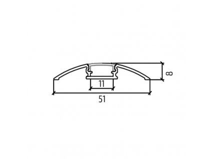 Solight hliníkový profil pro LED pásky plochý, 51x8mm, mléčný difuzor, 1m