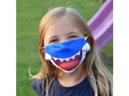 HOUSEDECOR Dětská rouška - Žralok (modrá)