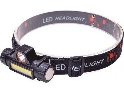 LED čelová nabíjecí svítilna, 3W + COB,150 + 120lm, Li-ion, USB