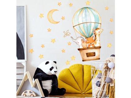 Samolepka na zeď - Balón a zvířátka