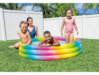 INTEX Baby bazén nafukovací kruhový 147x33cm duhový 58439