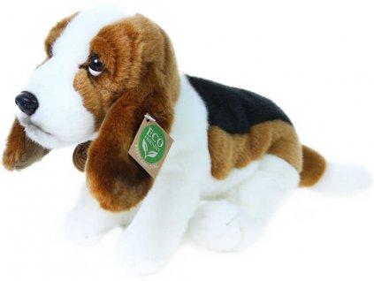 PLYŠ Pes basset sedící 32cm Eco-Friendly *PLYŠOVÉ HRAČKY*