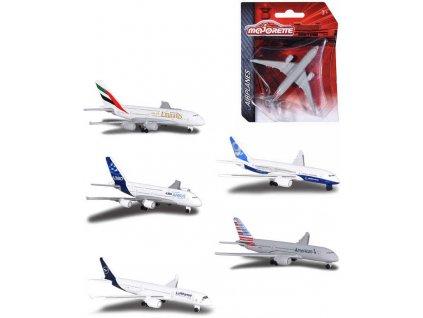 MAJORETTE Letadlo kovové 13cm známé letecké společnosti různé druhy