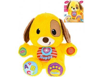 Baby pejsek Puppy naučný mluví česky CZ na baterie Světlo Zvuk pro miminko plyš