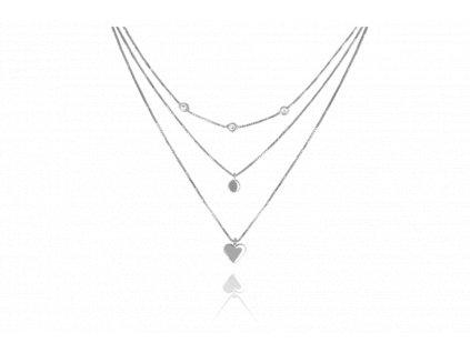 Trojitý stříbrný náhrdelník MINET s bílými zirkony