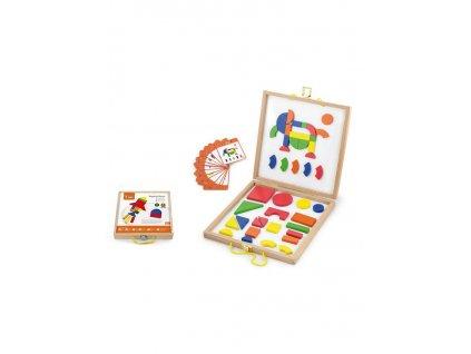 Dřevěný kufřík s magnetickými kostkami pro děti Viga - multicolor