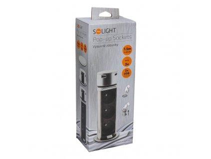 Solight USB výsuvný blok zásuvek, 3 zásuvky, plast, délka 1,5m, 3 x 1mm2, stříbrný