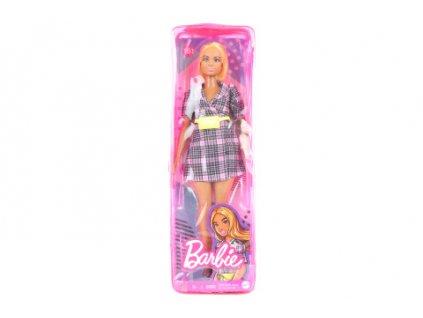 Barbie Modelka - kárované šaty se žlutou ledvinkou GRB53