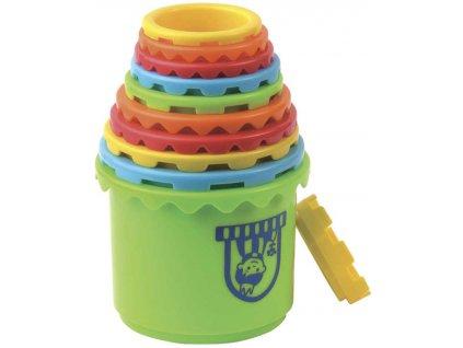 Baby hrad stohovací vkládačka kyblík 2v1 set 18ks plast
