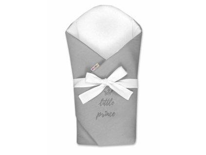 Baby Nellys Novorozenecká zavinovačka s výztuží zad Little Prince - šedá