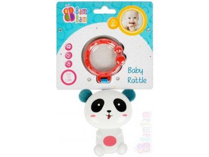 BAM BAM Baby chrastítko panda přívěsek s klipem pro miminko