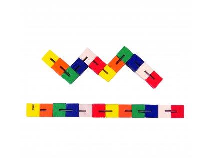 Bigjigs Toys Dřevěný hlavolam barevný had 1 ks