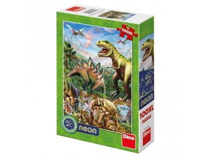 Puzzle 100XL Svět Dinosaurů neon