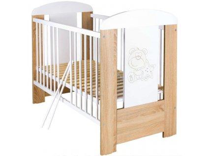 Dětská postýlka New Baby Medvídek s hvězdičkou standard dub - dub riviera  + Dárek zdarma