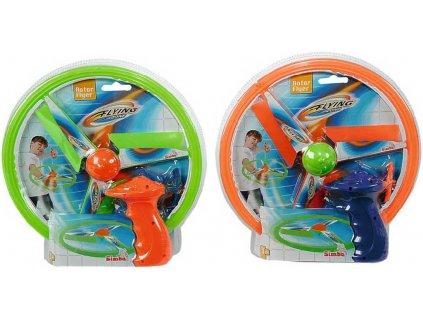 SIMBA Létající disk barevný na natažení 27cm na šňůrku 2 barvy plast