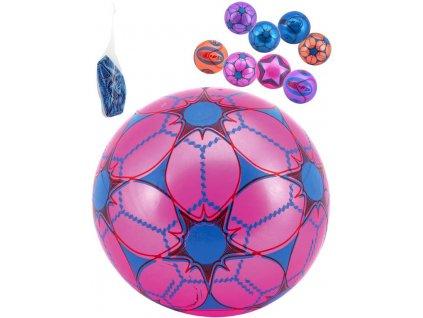 Míč barevný 23cm potištěný balon různé druhy vyfouknutý v síťce