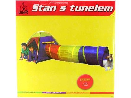 Stan s tunelem (domeček) prolézací domek pro děti 280 x 112 x 94 cm