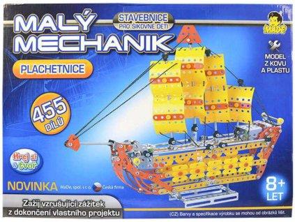 Malý mechanik Plachetnice 455 dílů Stavebnice typu Merkur kov plast v krabici
