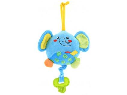 PLYŠ Baby slon 13cm hrací strojek usínáček na natažení pro miminko