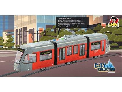Tramvaj MHD česká na setrvačník hlásí stanice na baterie Světlo Zvuk CZ