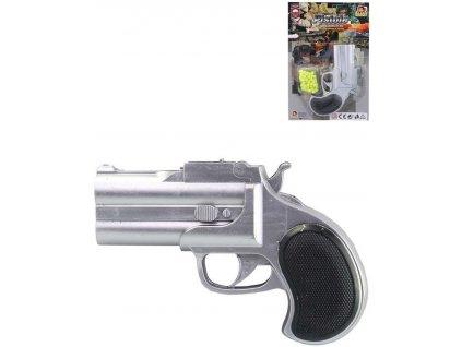 Pistole kuličkovka 13cm dětský kolt stříbrný na kuličky set s náboji plast