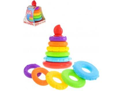 Baby pyramida barevná navlékací s 5 kroužky 20cm plast