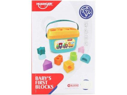 Baby vkládačka set kyblík vkládací + 16 kostek plast