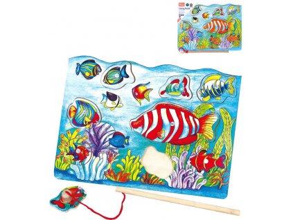 DŘEVO Baby magnetická vkládačka rybičky puzzle 8 dílků s prutem na desce