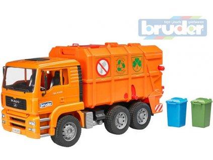 BRUDER 02760 (2760) Set auto nákladní oranžové MAN TGS popeláři + 2 popelnice plast