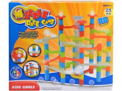 Kuličková dráha barevná 30x26cm 88 dílků stavebnice plast