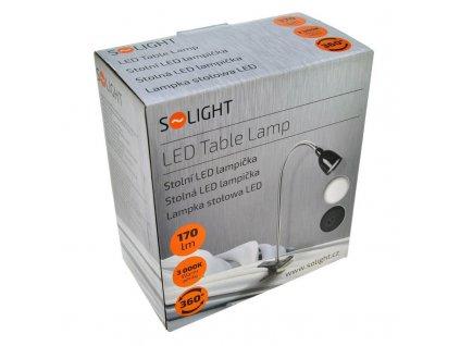 Solight LED stolní lampička, 2.5W, 3000K, clip, černá barva