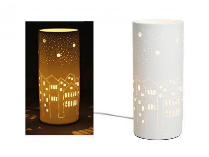 Porcelánová stolní lampa- dekor domeček