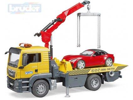 BRUDER 03750 Auto MAN TGS odtahová služba set s osobním autem