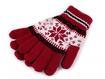 Dětské pletené rukavice norský vzor - červené
