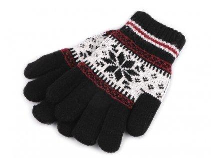 Dětské pletené rukavice norský vzor - černé